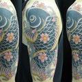 鯉 和彫り 刺青 桜