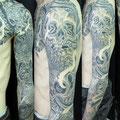 額彫り 骸骨 スカル 和彫り 刺青