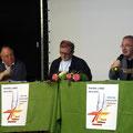 Les principaux acteurs de notre rassemblement: de gauche à droite, le P. Philippe Pottier, vic. épiscopal, le P. Bernard Podvin animateur des débats, et notre théologien de service, le P. Jean-Louis Souletie
