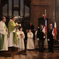 Mot d'accueil du P. Hénault-Morel. A sa droite, les diacres Jean-Marie Poussin et Guy Fournier