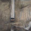"""o. T. aus """"Gebrauchsspuren"""", Pigmente auf Leinwand, 80 x 100 cm"""