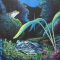 月夜のカジカガエル(オーダー作品)/Acrylics gouacheイラストボード