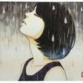 雨2014  180×140mm muse kenaf paper / water color(顔彩)Sold