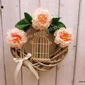 Tür Deko Kranz mit Blumen Vogelkäfig