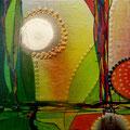 Sonne, Wasserfarben und Aero Color auf Holz, Casanirahmen, 15x15 cm, 50 €