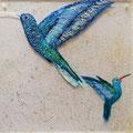 Kolibris, Acryl auf Acrylglas, 20x20 cm (verkauft)