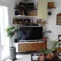 Meuble TV laqué avec façades en chêne massif (Méré 78)