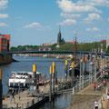 Der Martini-Anleger an der Weser mitten in der Bremer Innenstadt.