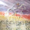LE COEUR À L'AVENTURE, aquarelle sur papier minéral, vendu