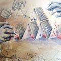 LA MESURE DE NOS PLANS, aquarelle, papier marouflé sur bois