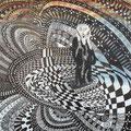 VALSE AUX MILLE TEMPS DE LA PEUR, (interprétation de l'oeuvre LE CRI d'Edvard Munch, encre de chine, aquarelle, 24'' X 24'', 480,00$