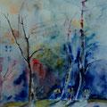 30 - Ombres bleu nuit - aquarelle inspirée de V. Prischedko 37x30