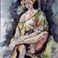 7 - Femme assise - aquarelle inspirée de J.Tollet-Loëb 40x30