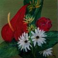 24 - Bouquet exotique - huile sur bois 19x19