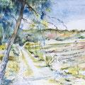 1 - Au bord du chemin - aquarelle inspirée de R.M.Pinchon 30x40