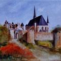 79 - La collégiale de Montreuil-Bellay - huile 25x30