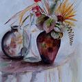 19 - Guéridon fleuri - aquarelle 40x30