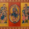 2 - Jésus et les 12 apôtres huile inspirée d'une oeuvre du XIe exposée à Barcelone 60x90