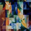 96 - Les fenêtres - huile d'après Delaunay 51x43