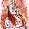 11 - Nourrice avec enfants - sanguine et pastel 30x21