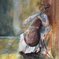 15 - Violoncelliste - aquarelle inspirée de L. Lidzey 40x30