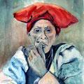 20 - Femme herrero fumant la pipe - aquarelle 40x30