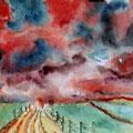 3 - Ciel rougeoyant - aquarelle 30x40