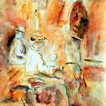 35 - Sur le banc - aquarelle inspirée de M. Alexander 40x30