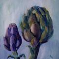 22 - Bouquet d'artichauts - huile sur bois 22x20