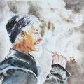 7 - Fumée chinoise - aquarelle inspirée de Guan Weixing 30x40