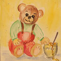 18 - Ours et le pot de miel - aquarelle 15x11