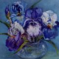 13 - Bouquet d'iris - huile sur bois 29x29