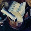 3 - Les instruments de musique - huile d'après Braque 33x41