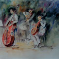 25 - Trio musical - aquarelle 30x37