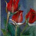 23 - Roses rouges - huile sur bois 14x8