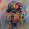 9 - Pensive - aquarelle inspirée de Sahab Tolooie 40x30