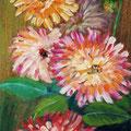 92 - Dahlias du jardin - huile sur bois 30x15