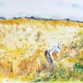 D 3 - Dans les champs - aquarelle inspirée de J.Lidzey 30x40