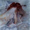 75 - L'endormie - aquarelle inspirée de JL.Morelle 27x21