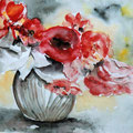 66 - Bouquet rouge - aquarelle 24x31
