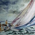 18 - Régates - aquarelle inspirée de Berrard-Laget 30x40