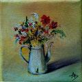 87 - Cafetière fleurie - huile 10x10
