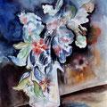 18 - Fleurs bleues - aquarelle 40x30