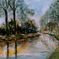 27 - Flânerie au bord du canal - huile sur bois 14x21