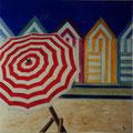 6 - Le parasol rouge - huile 40x40