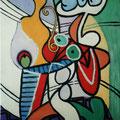 0 - Le guéridon - huile d'après Picasso 35x27