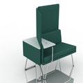 chair with small table, high panels and external table