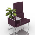 chair with small table, high panels and external vase