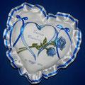 """cuscino cuore """" CUORE + 2 ROSE """" bluette"""