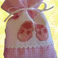 sacchetto cotone quadretti rosa + aida ricamo scarpine